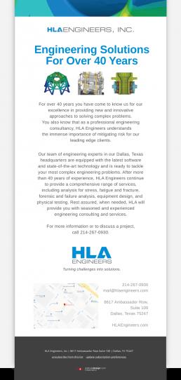 HLA Engineers - Email Blast Design - Zielinski Design Associates - Dallas, Texas